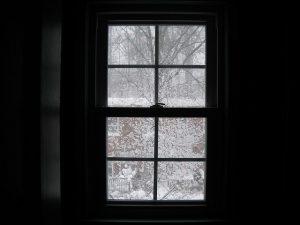 Winter storm through a window.